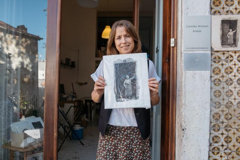 Watson - Portugal - Lisbon - Artist Camilla Watson at her open studio on Largo dos Trigueiros, Mouraria
