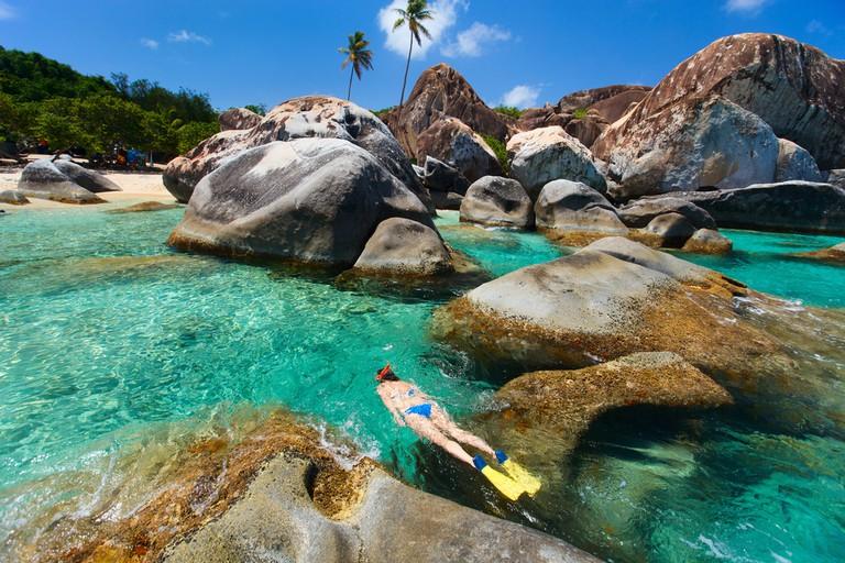 The Baths beach area major tourist attraction on Virgin Gorda, British Virgin Islands, Caribbean