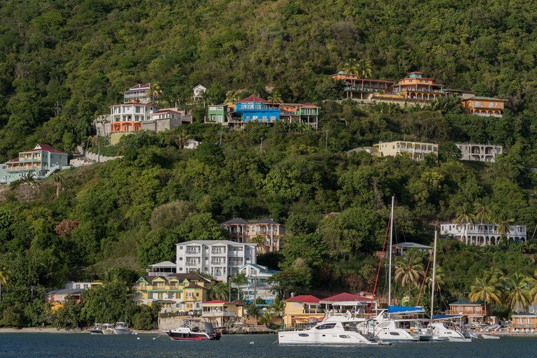 Homes built on the slopes around Cane Garden Bay