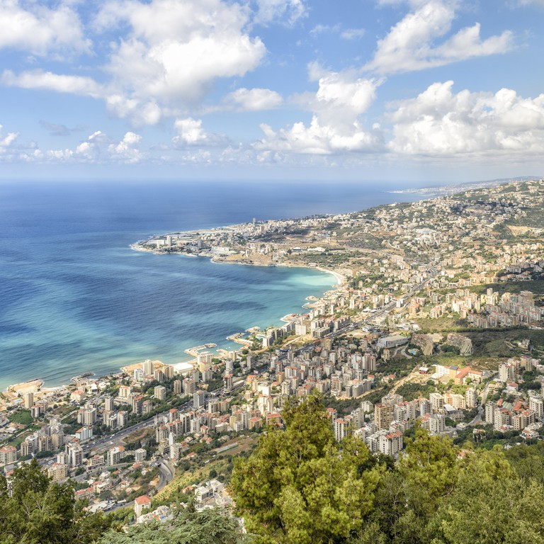 The coastline of Lebanon north of Beirut seen from the mountains