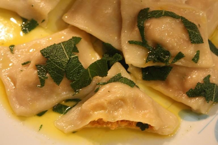 The Vegan Words' pumpkin and cashew-cheese stuffed ravioli in sage-butter
