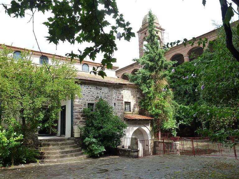 View of the Katholikon at Moni Limonos monastery on Lesbos