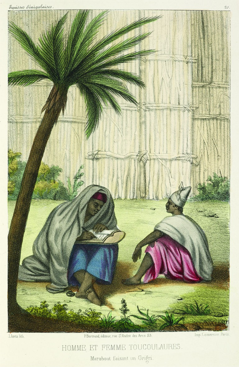 A marabout or Muslim religious leader writing an amulet for a widow, from 'Senegalese sketches' by P D Boilat, 1853. On display in West Africa: Word, Symbol, Song / Courtesy of British Library