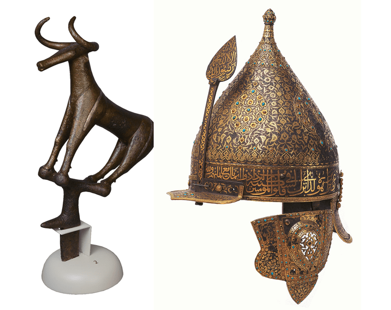 On the left: Top of a standard in the shape of a bull, ca 2300/2200-2000 BC and on the right: Parade helmet, Ottoman period, mid-16th century