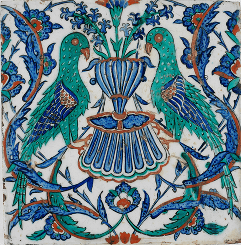Iznic tile with two peacocks, Ottoman period, 17th century