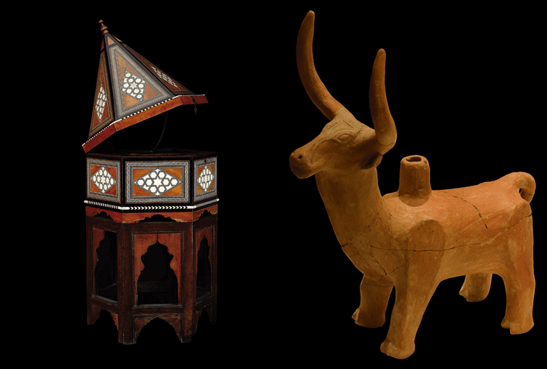 On the left: Quran case, Ottoman period, 17th century and on the right: Bull-shaped rhyton, Hittite period, 16th century BC