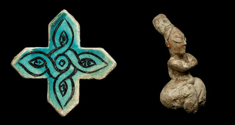 On the left: Cross-shaped glazed tile from Kubadabad palace, early 13th century and on the right: Seated female figurine, 6th millennium BC
