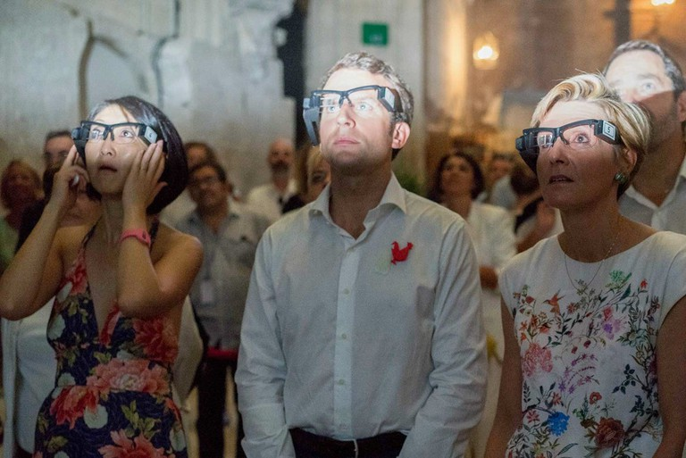 French ministers Fleur Pellerin (culture) and Emmanuel Macron (economy) test out the technology at the 2015 Avignon Festival