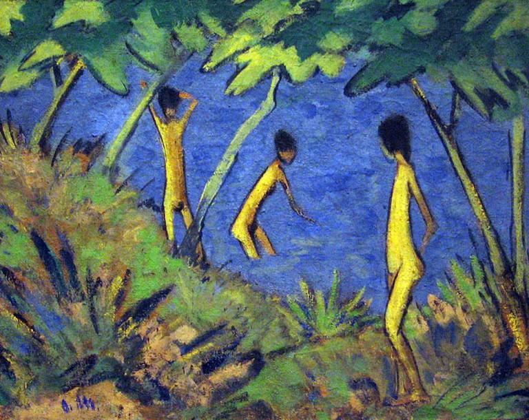 'Landschaft mit Gelben Akten' by Otto Mueller