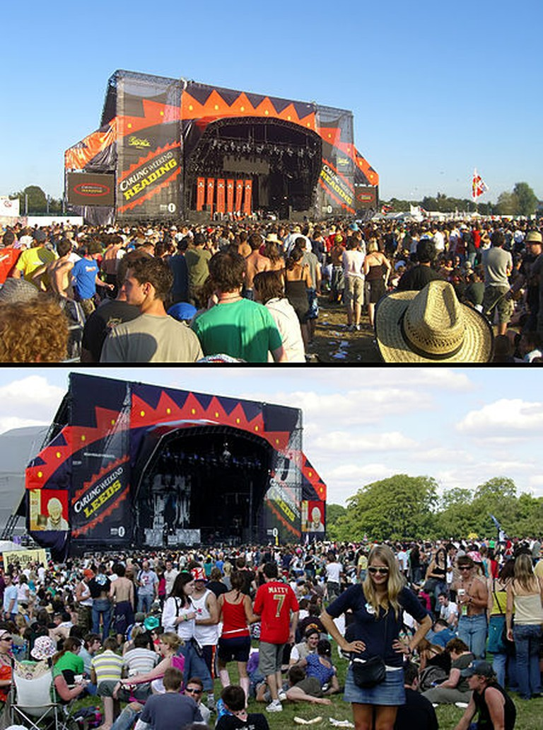 The Main Stages at Reading Festival in 2007 [Top] and at Leeds Festival in 2006 [Bottom]