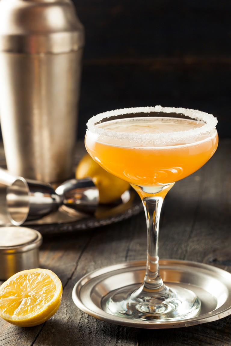 Sidecar Cocktail with a Sugar Rim