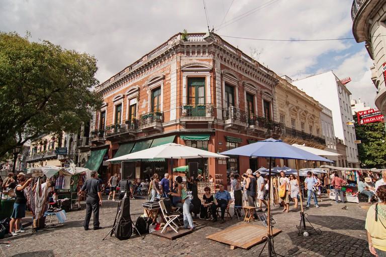 The flea market in San Telmo in Buenos Aires