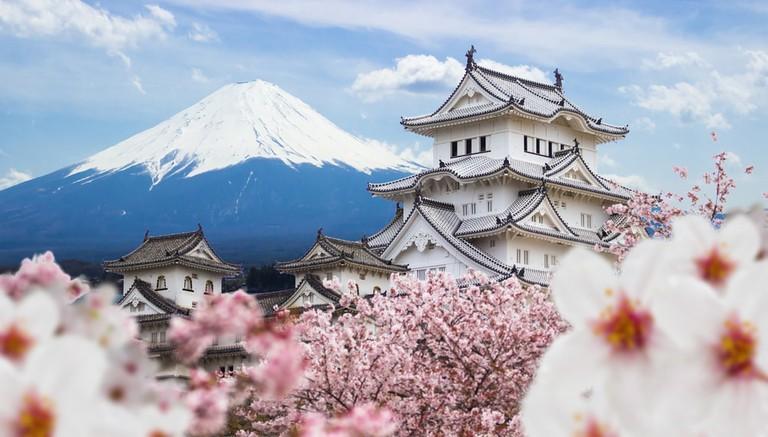 Himeji Castle and Fuji mountain, Japan