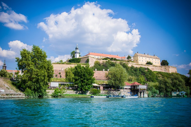 View on Petrovaradin fortress over Danube river, Novi Sad, Serbia