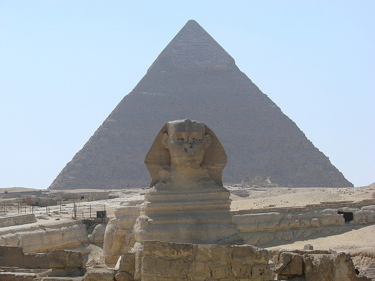 The Sphinx and one of the Pyramids at Giza| © Michael Goodine/Flickr