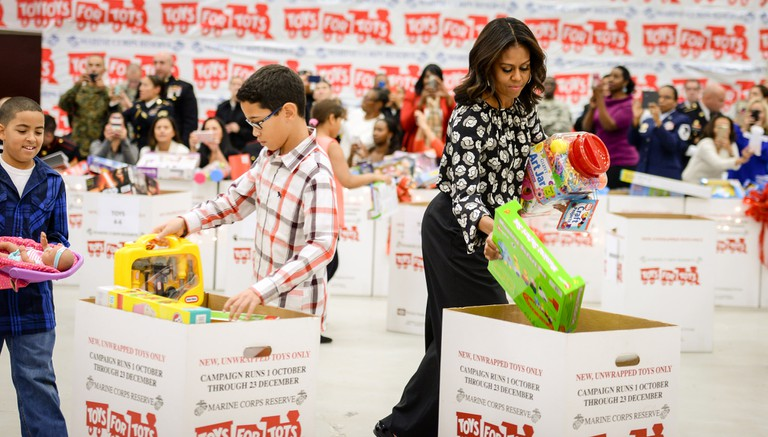 First lady Michelle Obama supports annual Toys for Tots drive. | ©Official U.S. Navy Page/Flickr