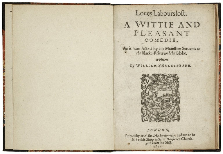 The title page from the second quarto edition of Love's Labour's Lost, printed in 1631.|© Folger Shakespeare Library/Wikicommons
