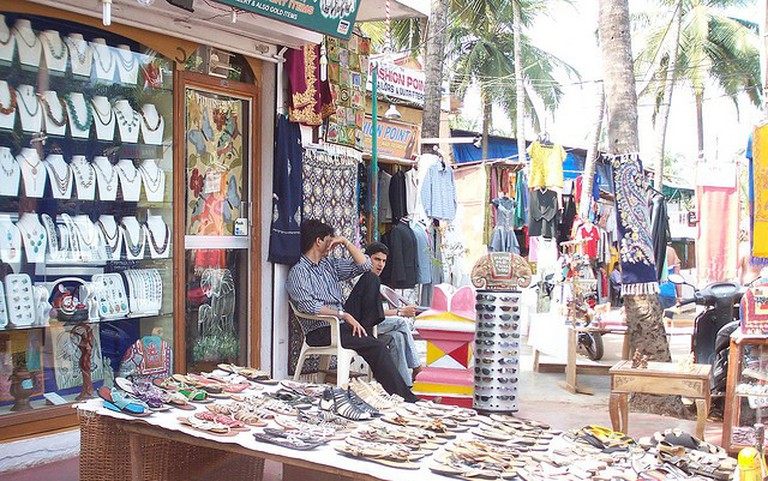 Streetside shop selling jewelry, clothes, shoes etc in Goa