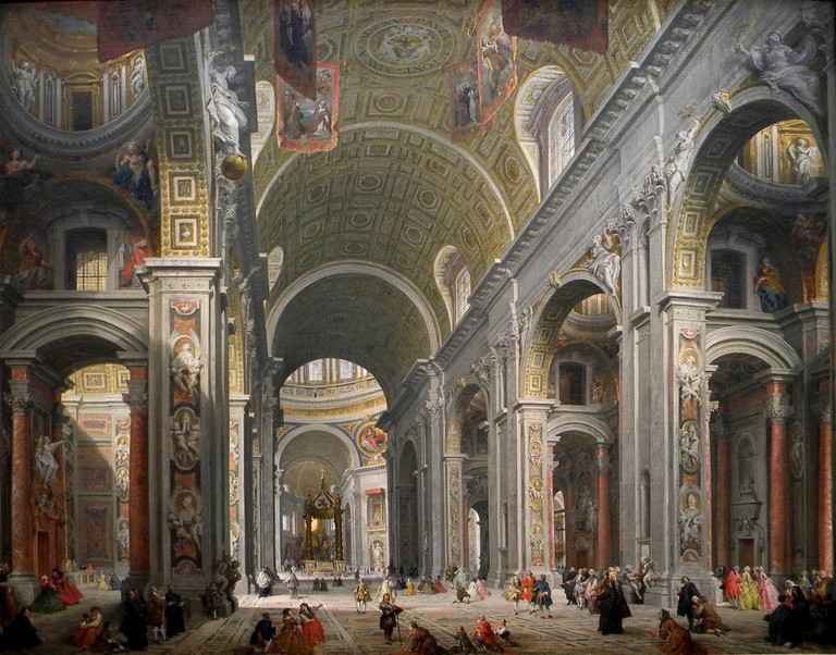 Giovanni Paolo Panini, 'Interior of Saint Peter's, Rome', c1754