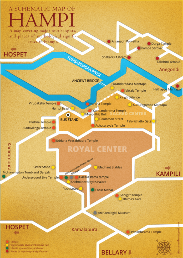 Schematic map of Hampi