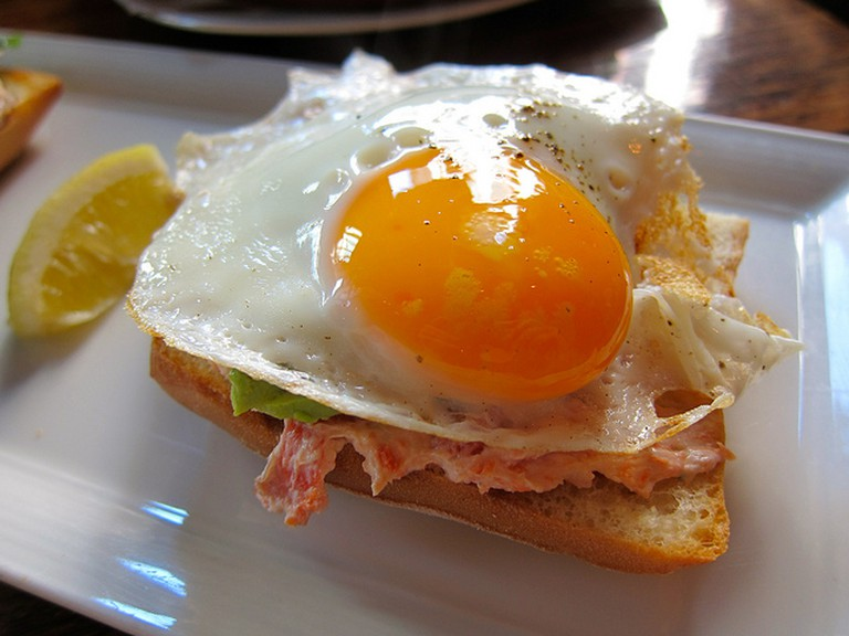Fried Egg with Salmon