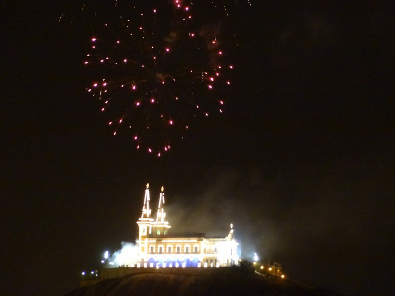 Firework at New year's Day at the Penha Chuch