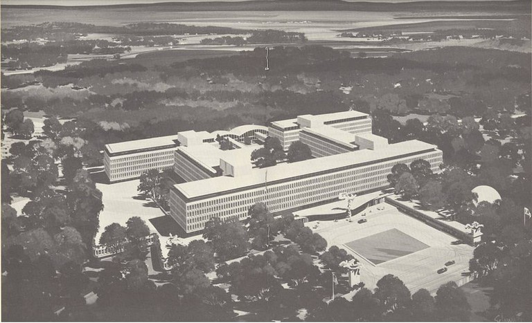An Artist's Rendering of the CIA Original Headquarters Building in Langley, Virginia | © CIA/ Wikimedia Commons