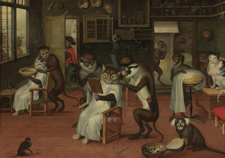 Barbershop with Monkeys and Cats, Abraham Teniers