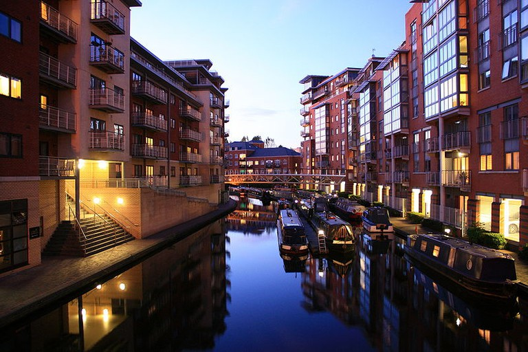 Birmingham canalside apartments at dusk