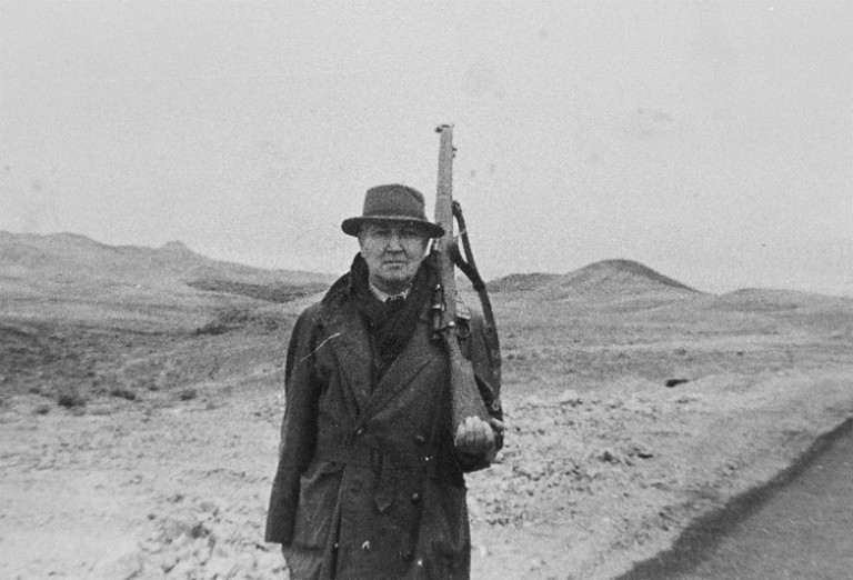 1959: Morning Walk With Ben Gurion. Graves At Attention With Rifle - Israel | Courtesy of William Graves