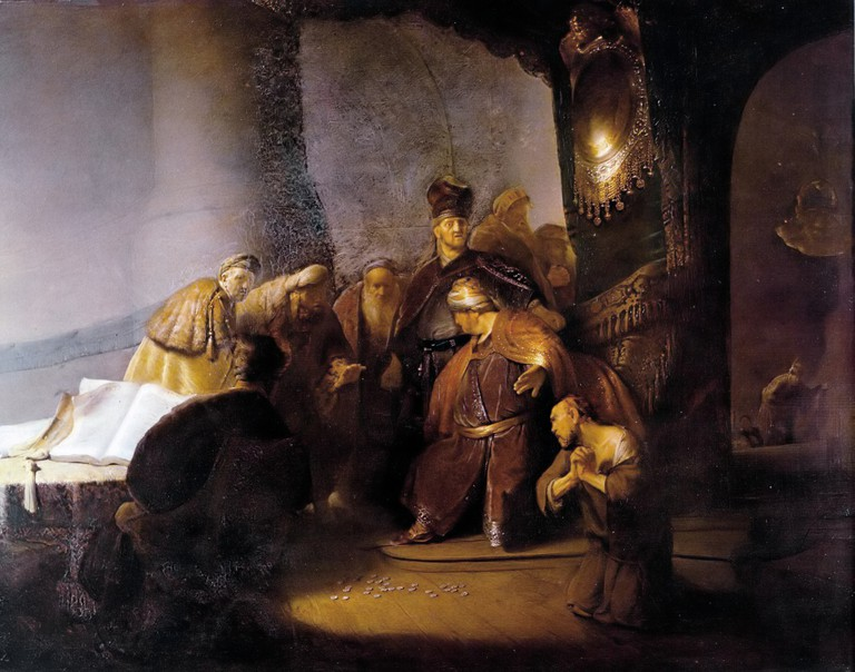 Rembrandt, Judas Returning the Thirty Silver Pieces, 1629 | © Rembrandt/WikiCommons
