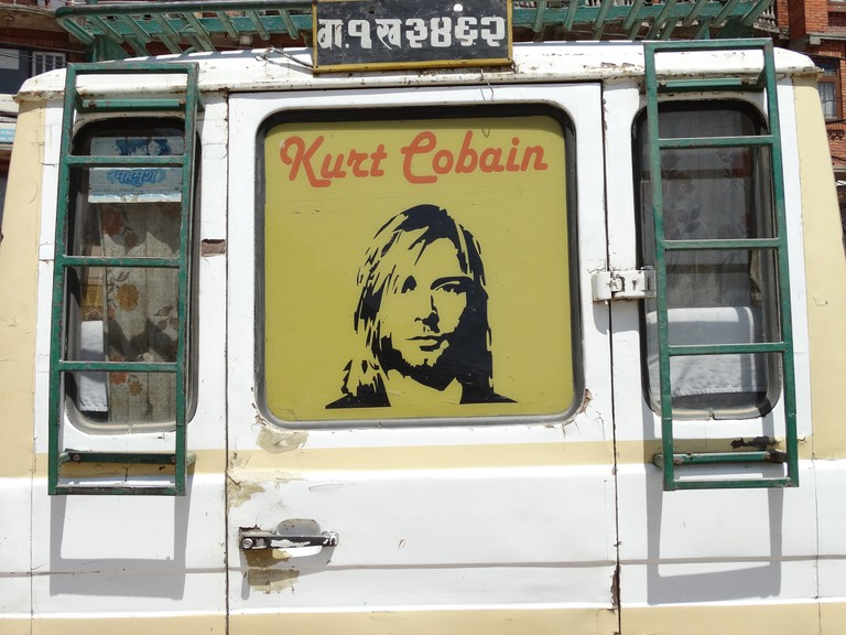 Kurt Cobain on a minibus in Nepal | © Adam Jones/Flickr