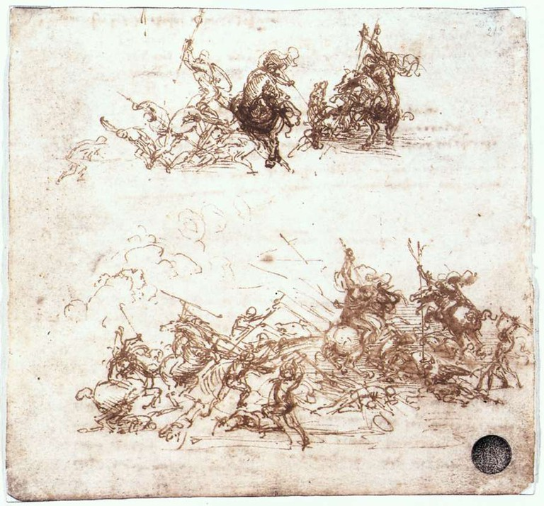 Leonardo da Vinci, The Battle of Anghiari, Study of battles on horseback and on foot, 1503-04