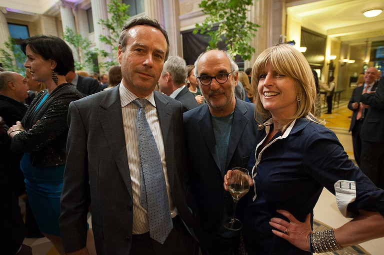 Rachel Johnson with Lionel Barber and Alan Yentob at the Financial Times Summer Party, 2014