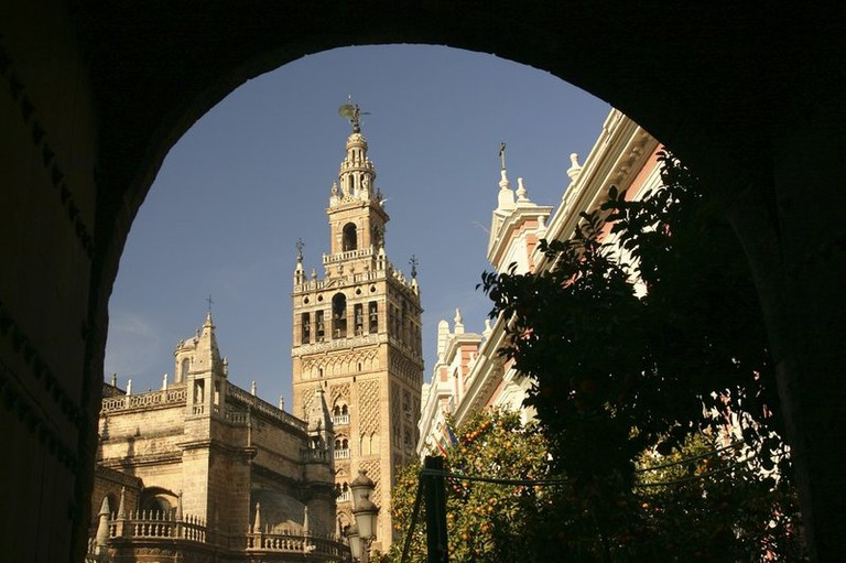 View of la Giralda, a tower attached to the Cathedral