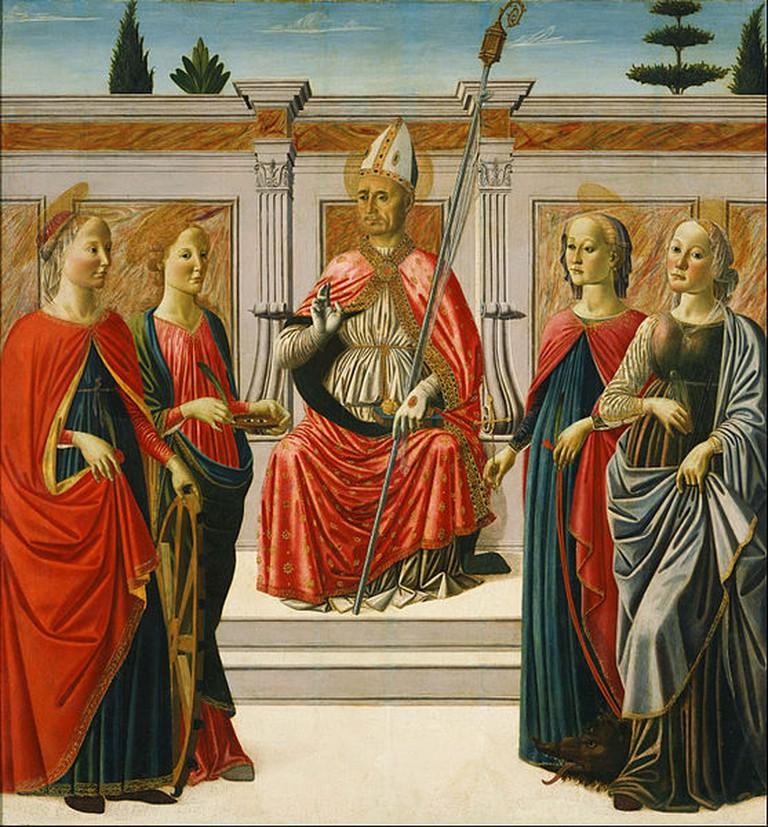 Francesco Botticini - St. Nicolas and Sts. Catherine, Lucy, Margaret and Apollonia | © DcoetzeeBot / WikiCommons
