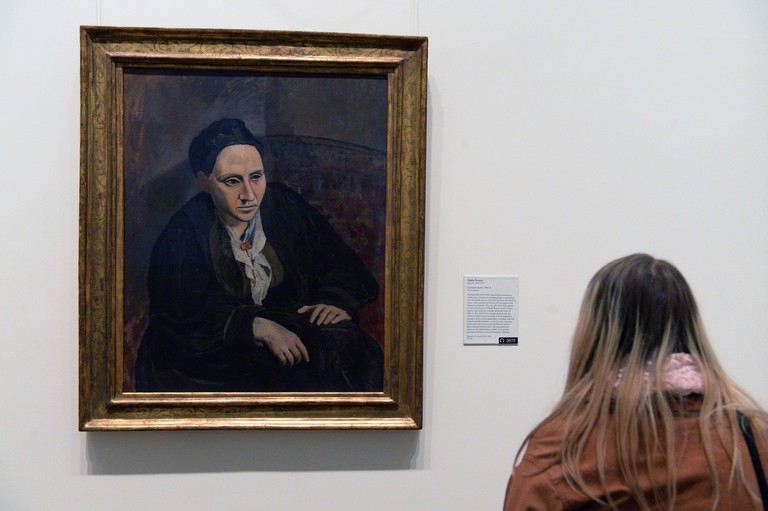 The work 'Gertrude Stein' by Pablo Picasso is on display in the Metropolitan Museum of Art