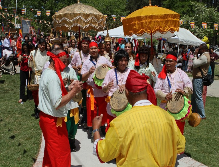 Drummers perform during a Khmer New Year celebration in Lithonia, GA