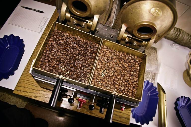 Roasting beans   courtesy of Nuevo Mundo