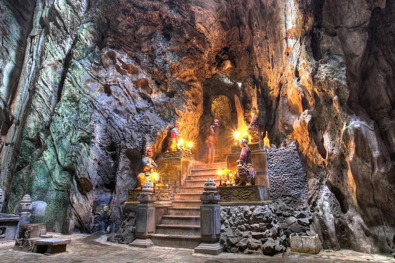 Buddhist pagoda in Huyen Khong cave on Marble Mountain