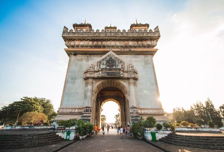 Patuxai, a memorial monument, in Vientiane, Laos
