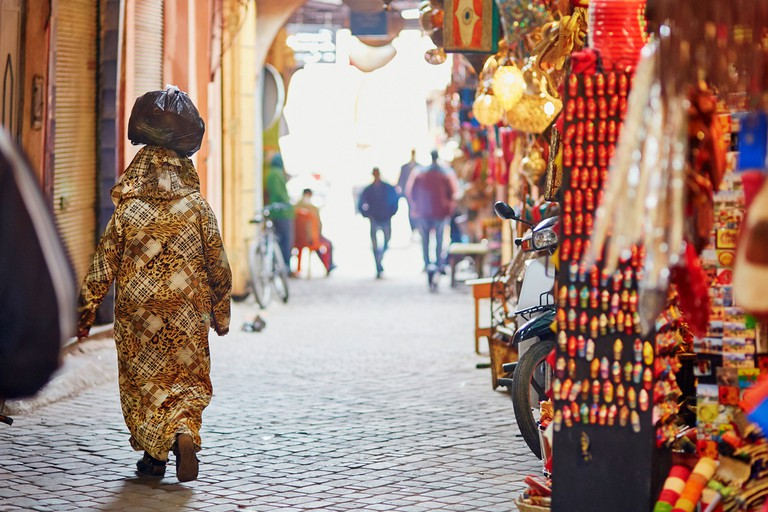 Walk some the most famous Moroccan market (souk) in Marrakech, Morocco