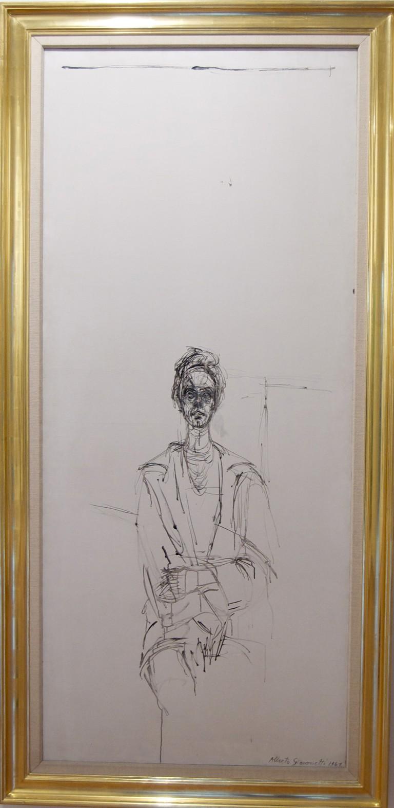 Alberto Giamotti, Carolina Sobre Fondo Blanco, Ink on Canvas, 1961 (photo cropped)