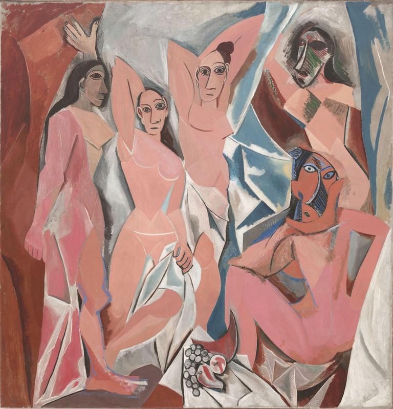 Pablo Picasso, Les Demoiselles d'Avignon, oil on canvas, 1907