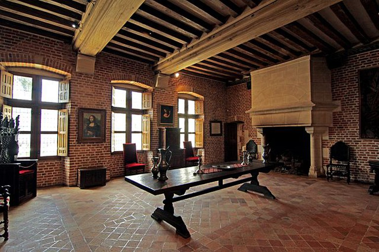 Dining Room of Leonardo da Vinci at Château du Clos Lucé with Mona Lisa | ©Ceridwen/WikiCommons