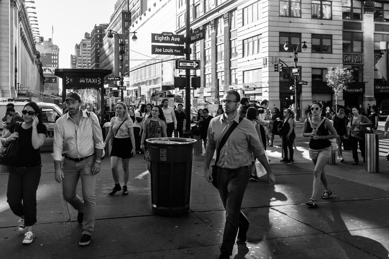 New York City Street Scenes – Rushing to Catch the Train at Penn Station