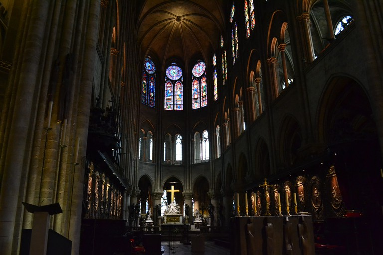 Notre Dame interior with stained-glass windows