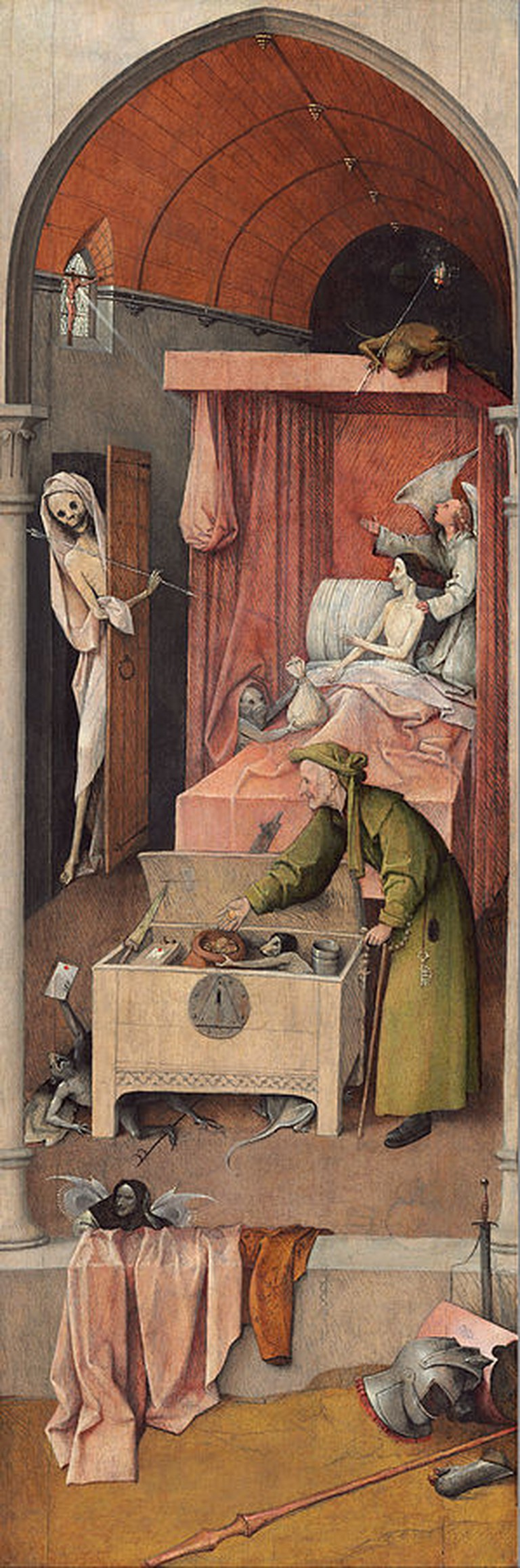 Hieronymus Bosch, Death and the Miser, oil on panel, 93 x 31 cm, National Gallery of Art, Washington D.C., c. 1485-1490 | © DcoetzeeBot/WikiCommons