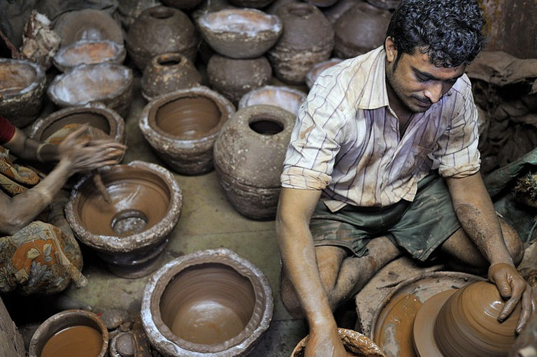 Potter at work in Dharavi