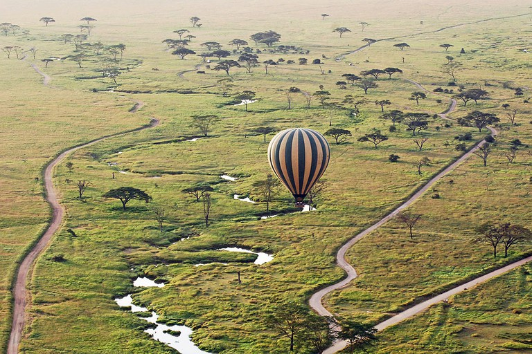 Hot air balloon tour over the Sarangeti | © Harvey Barrison/WikiCommons